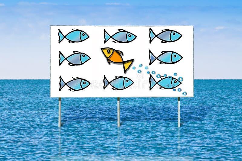 Bad mot tidvattnet eller stå ut från folkmassan - begreppsbild över en annonserande affischtavla mot en seascape royaltyfri bild