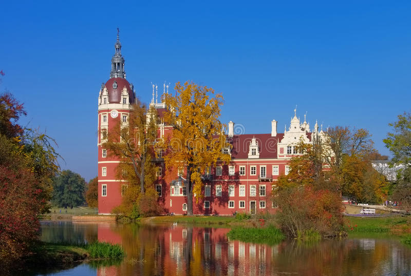 Bad Muskau palace in autumn stock photo