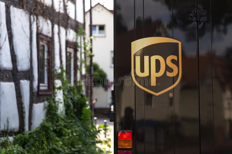 Bad nauheim, hesse/germany - 28 06 18: ups truck logo in bad nauheim germany. Bad nauheim, hesse/germany - 28 06 18: an ups truck logo in bad nauheim germany royalty free stock photo