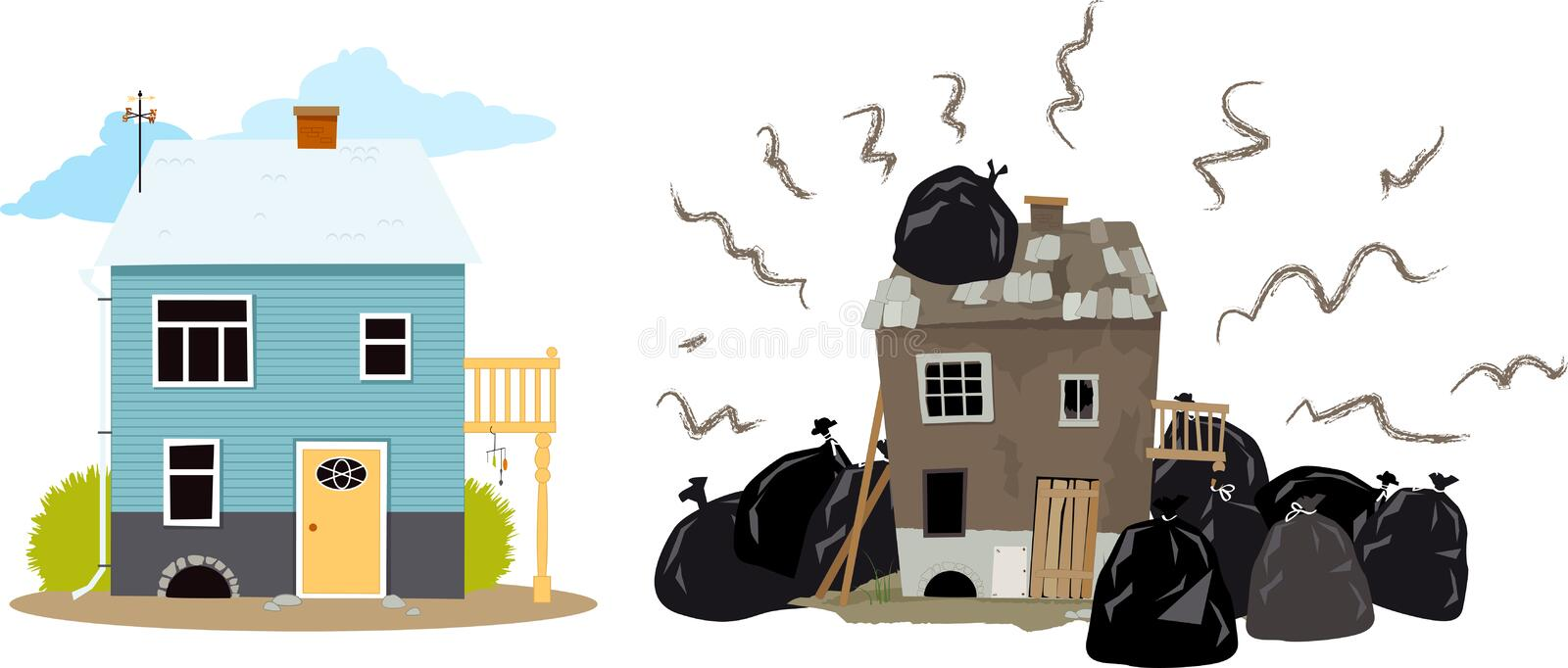 Bad neighbors. Smelly house buried under garbage bags creating problems for it`s neighbors, EPS 8 vector illustration royalty free illustration
