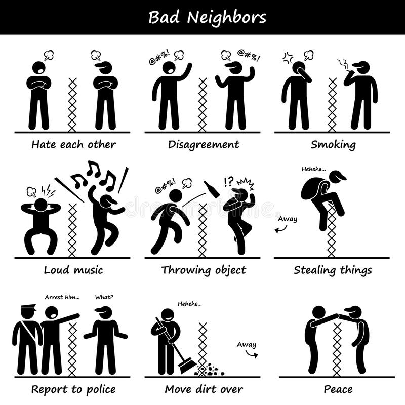 Bad Neighbors Stick Figure Pictogram Icons. A set of human pictogram representing unhappy neighbors quarrel and cursing each other. He is upset about the smoke stock illustration