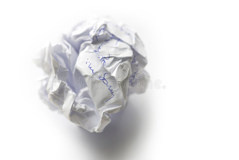 Bad news. Crumpled bad message on white background stock images