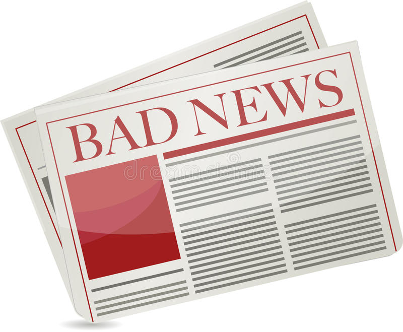 Bad News Newspaper Illustration Design Stock Photography