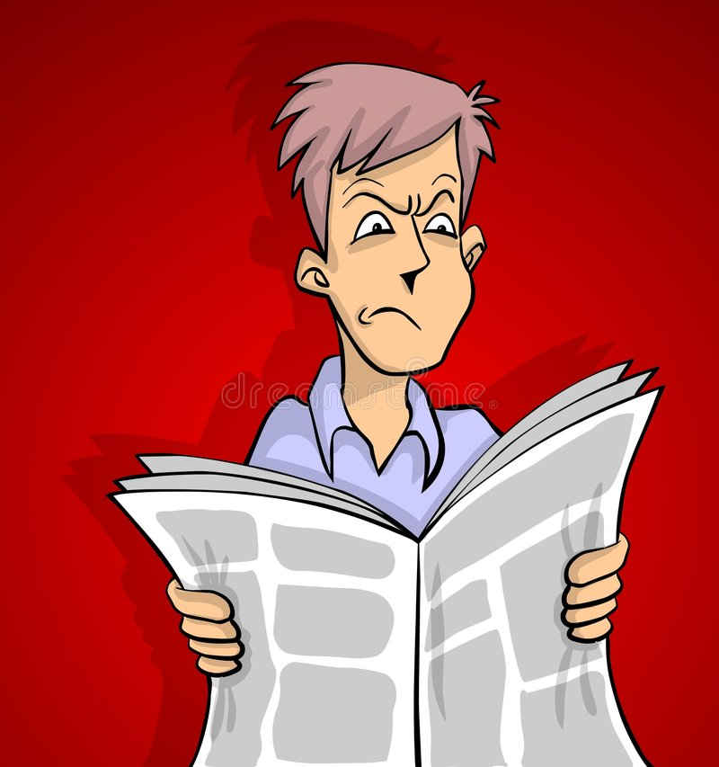 Bad news red. Man is reading a bad news in newspaper red background royalty free illustration