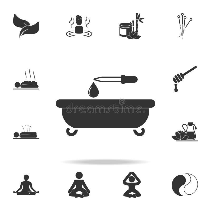 bad och en droppe av olja med en pipettsymbol Detaljerad uppsättning av SPA symboler Högvärdig kvalitets- grafisk design En av sa stock illustrationer