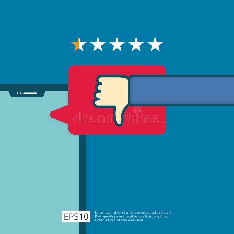 bad one star review concept. dislike bubble message symbol on phone screen media. hand thumbs down button logo icon. Social stock illustration