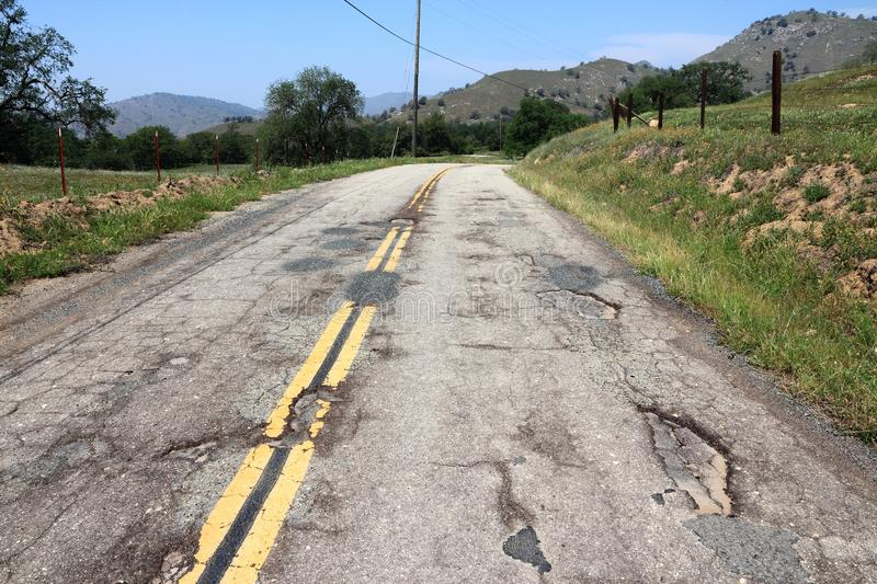 Bad quality. Road - damaged transportation infrastructure in California, USA stock image