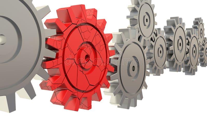 Bad red gear vector illustration