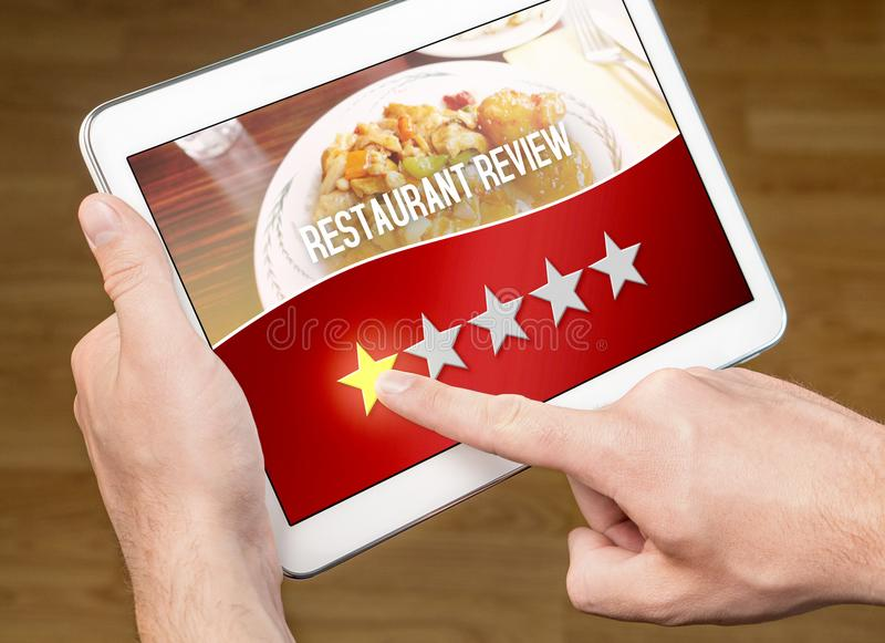 Bad restaurant review. Disappointed and dissatisfied customer royalty free stock photo
