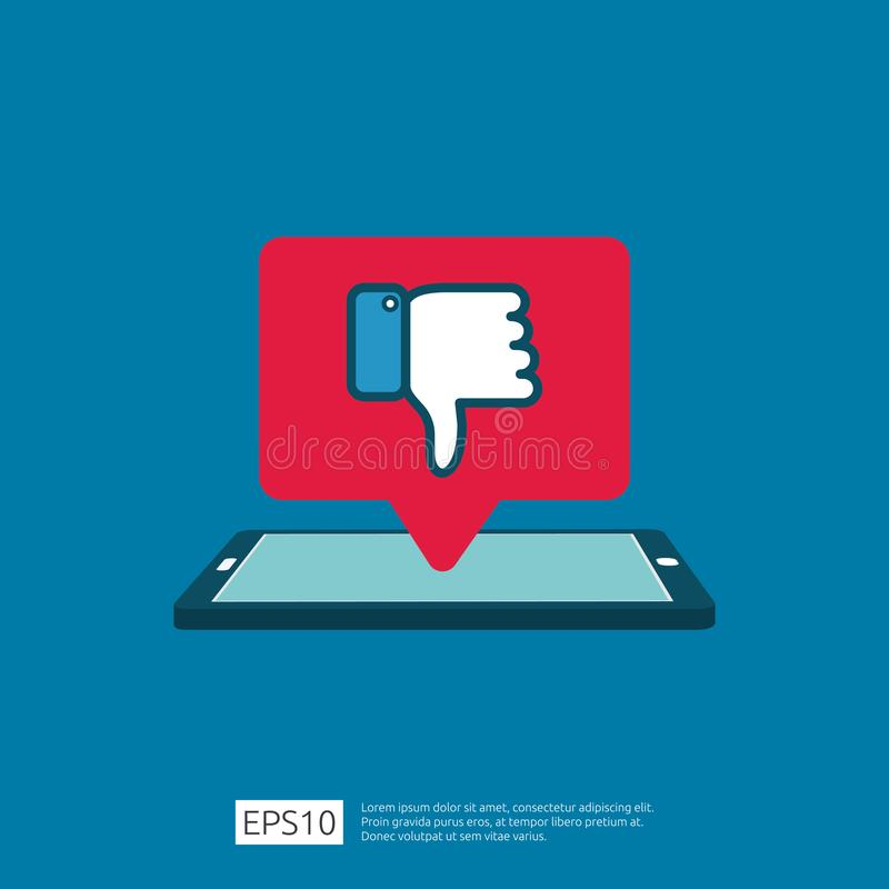 bad review concept. dislike bubble message symbol on phone screen media. hand thumbs down button logo icon. Social network flat vector illustration