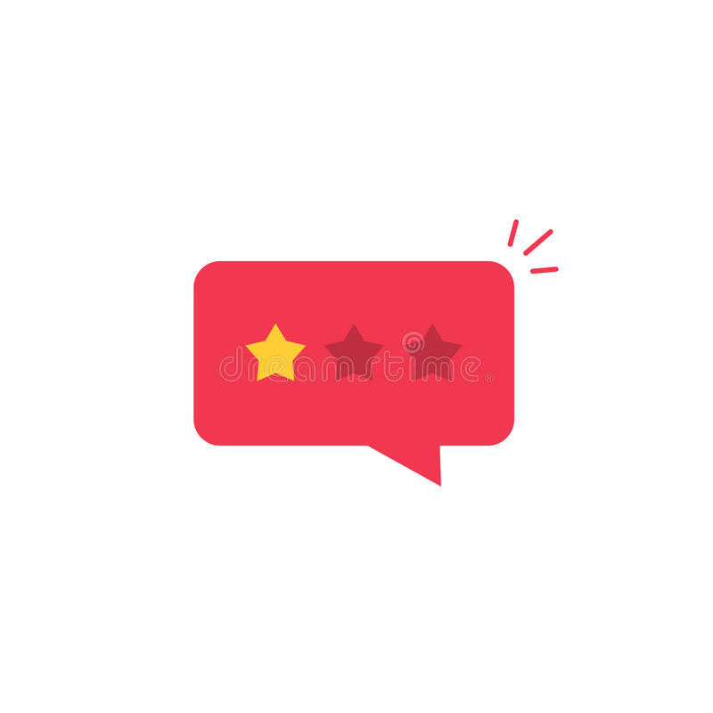 Bad review rating icon, reviews stars negative rate, testimonial message. Bad review rating icon vector idea, flat style review stars with negative rate in red royalty free illustration