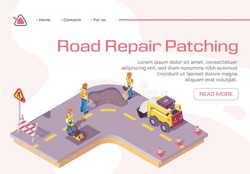 Bad Road Repair, Excavator Cover Hole in Ground. Road Repair, Excavator Cover Hole in Ground with Concrete, Worker Patching Fresh Asphalt, Bagger Excavating Work royalty free illustration