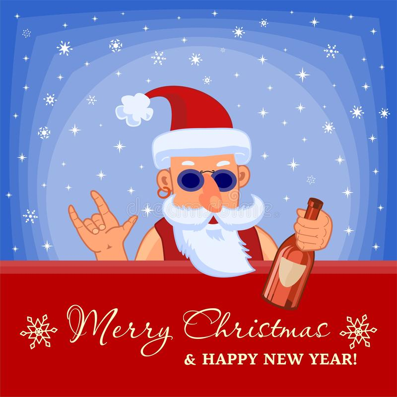 Bad Santa Claus with bottle of booze. Rock-N-Roll. Merry Christmas and Happy New Year Holiday greeting card royalty free illustration