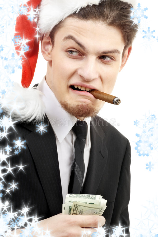 Download Bad santa with snowflakes stock image. Image of boss, betting - 3869869
