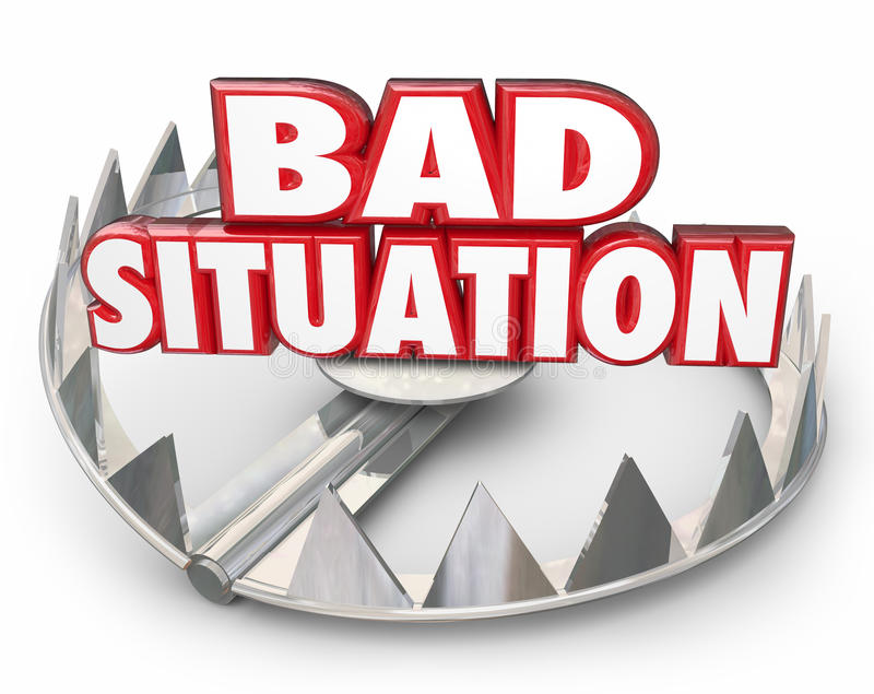 Bad Situation 3d Words Bear Trap Trouble Problem Issue. Bad Situation 3d words in a steel bear trap to illustrate danger of being caught in a trap, trouble royalty free illustration