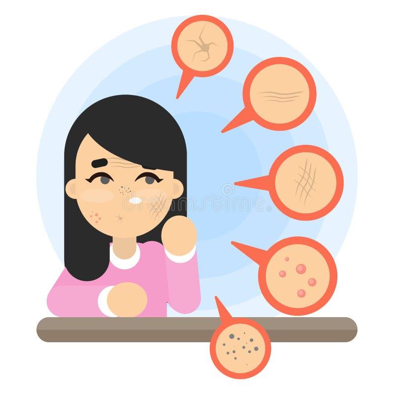 Bad skin problems. vector illustration