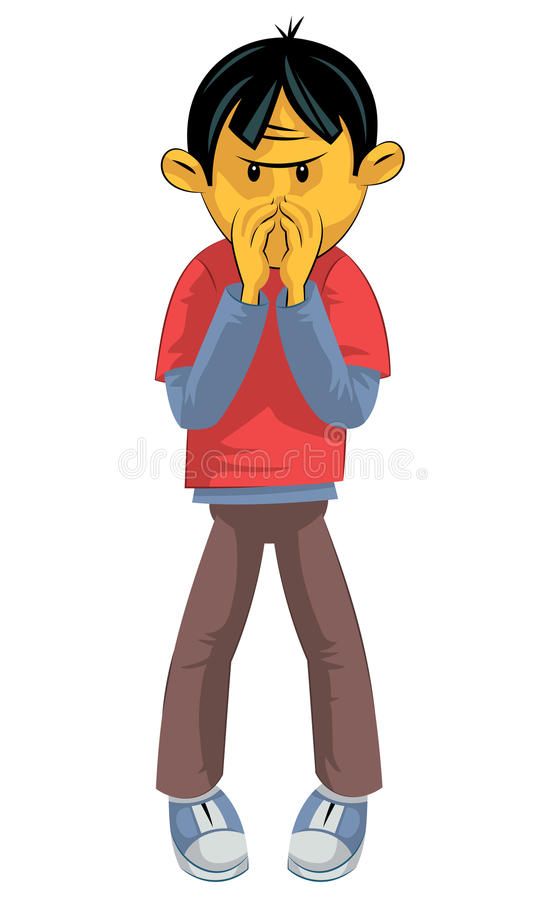 Bad smell. Standing boy hides his nose from bad smell royalty free illustration