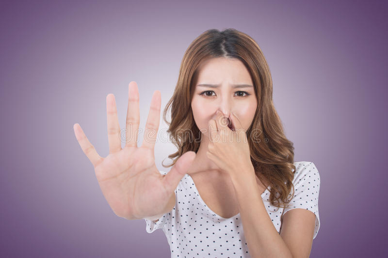 Bad smell face royalty free stock photo