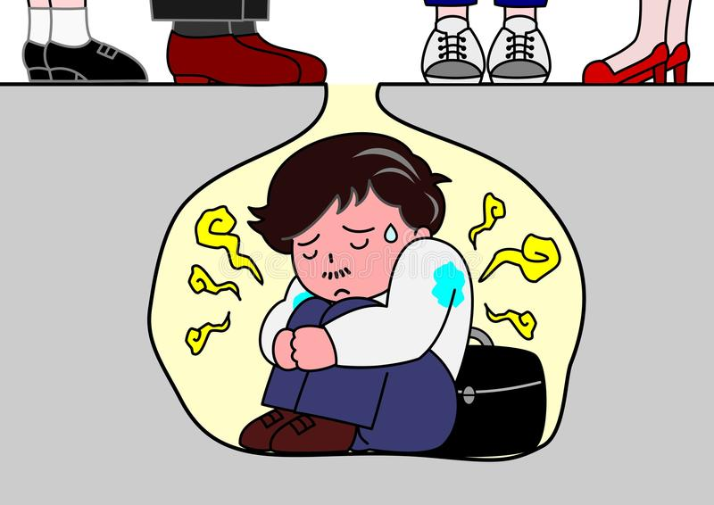 Bad smell. A man troubled by own sweat smell vector illustration