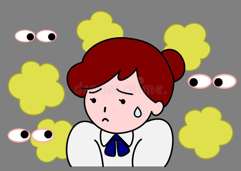 Bad smell. Woman troubled by own bad smell stock illustration