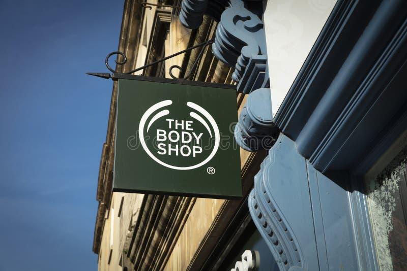 Bad, Somerset, Großbritannien am 22. Februar 2019 Geschäfts-Zeichen für Body Shop stockfotos
