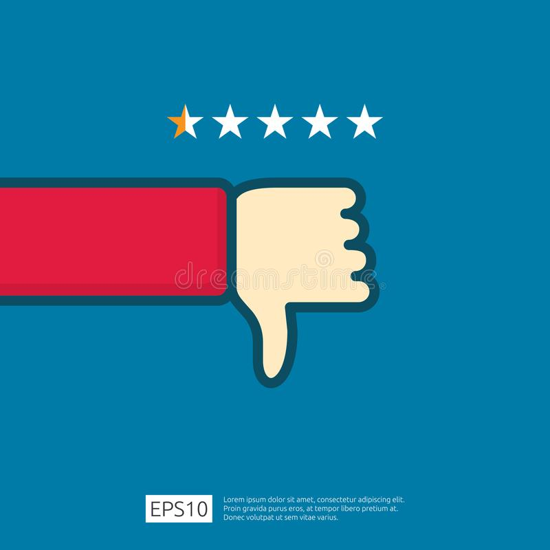 bad 1 star review concept. dislike symbol on phone screen media. hand thumbs down button logo icon. Social network flat design royalty free illustration