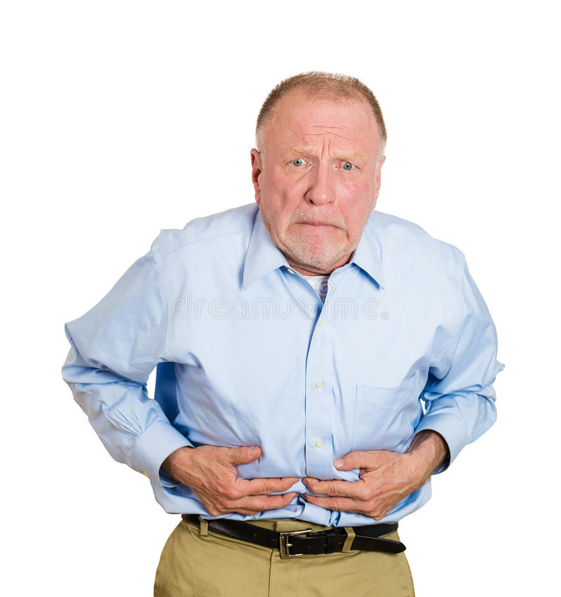 Bad stomach ache. Closeup portrait old business man, elderly executive, boss, corporate worker, retired guy, unhealthy grandfather doubling over in stomach pain stock photos