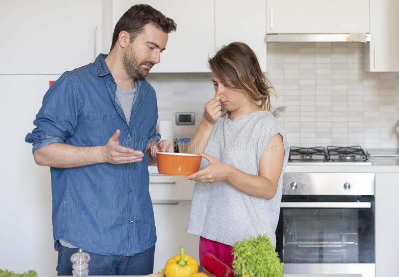 Bad taste dinner and wrong food preparation royalty free stock photo