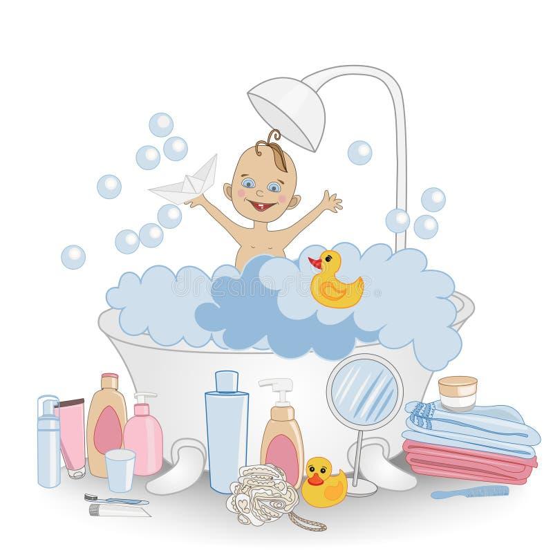 Bad Tid! Baby som tar ett bad som spelar med pappersfartyget, royaltyfri illustrationer