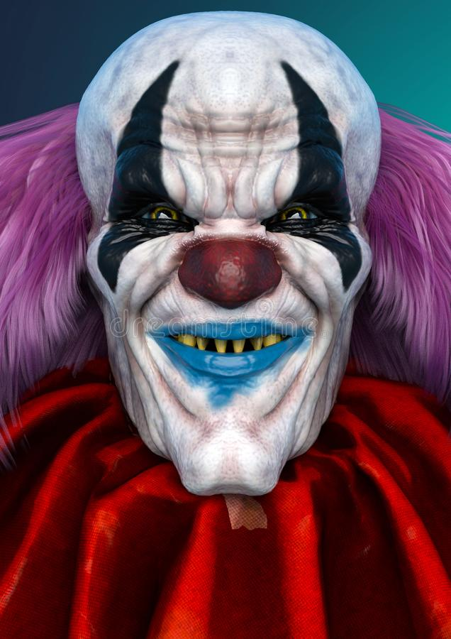 Bad and ugly clown in a horror portrait royalty free illustration