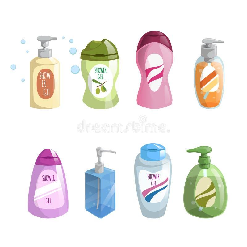Bad- und -kosmetikflaschenikonen des modischen Designs der Karikatur verschiedene Farbeingestellt Duschgel und -Flüssigseife lizenzfreie abbildung