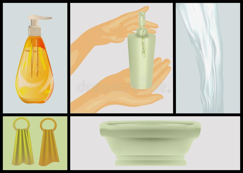 Bad und Reinigungsmittel vektor abbildung