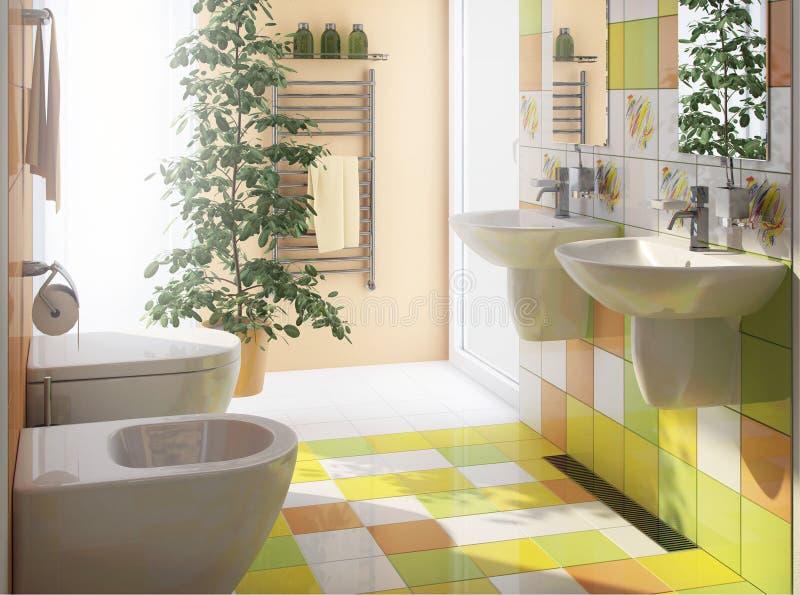 Bad wc innenarchitektur stock abbildung illustration von for Bad innenarchitektur