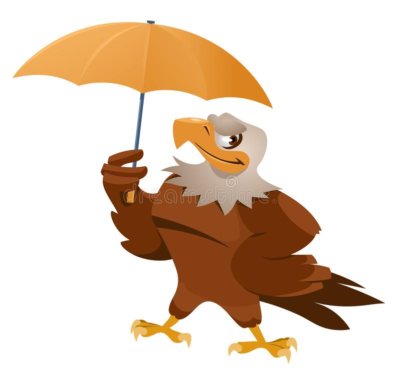 Bad weather. Funny American eagle with umbrella royalty free illustration