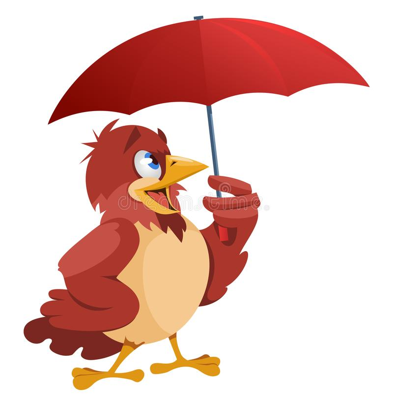 Bad weather. Funny sparrow with umbrella vector illustration