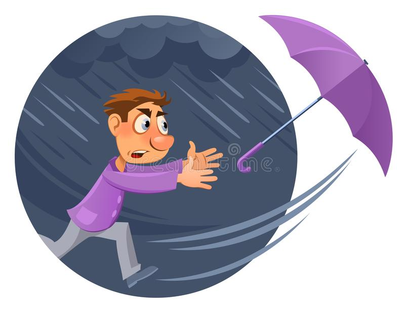 Bad weather. Rain and wind. Hurricane. Cartoon man tries to catch an umbrella. Cartoon styled vector illustration. Elements is grouped and divided into layers stock illustration