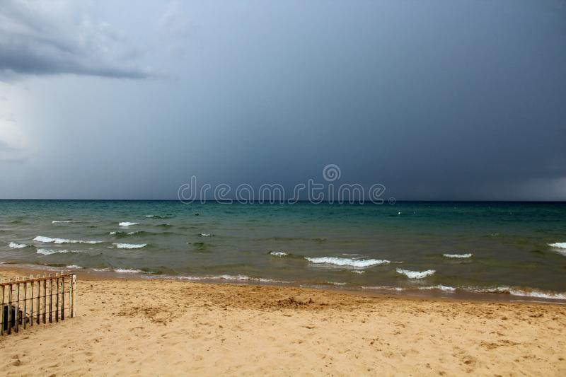 Bad weather with rough seas. And clouds in the background in the Sicilian sea stock images