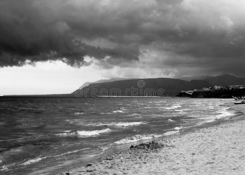 Bad weather with rough seas. And clouds in the background in the Sicilian sea royalty free stock photography