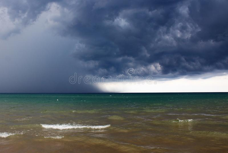 Bad weather with rough seas. And clouds in the background in the Sicilian sea stock photo