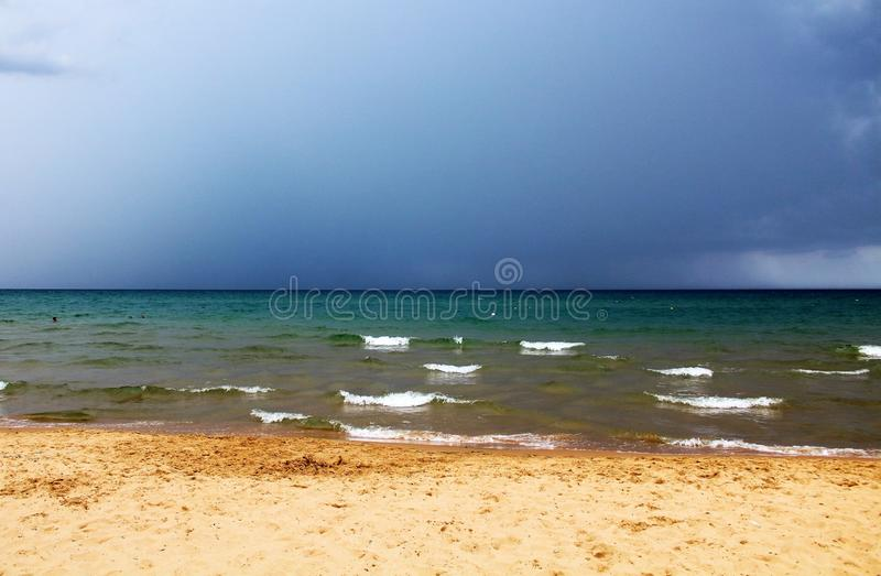 Bad weather with rough seas. And clouds in the background in the Sicilian sea royalty free stock image