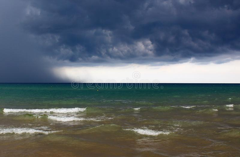Bad weather with rough seas. And clouds in the background in the Sicilian sea stock photography