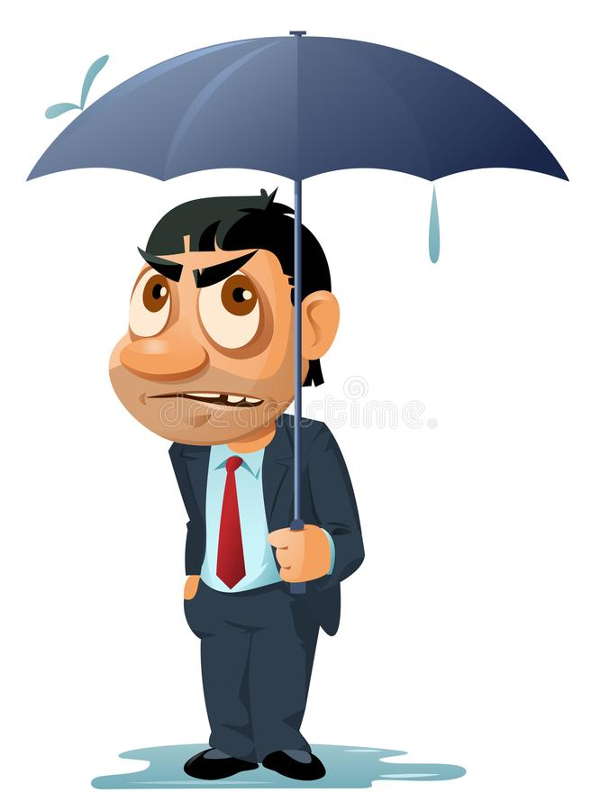 Bad weather. It`s raining. Funny man in suit with umbrella. stock illustration