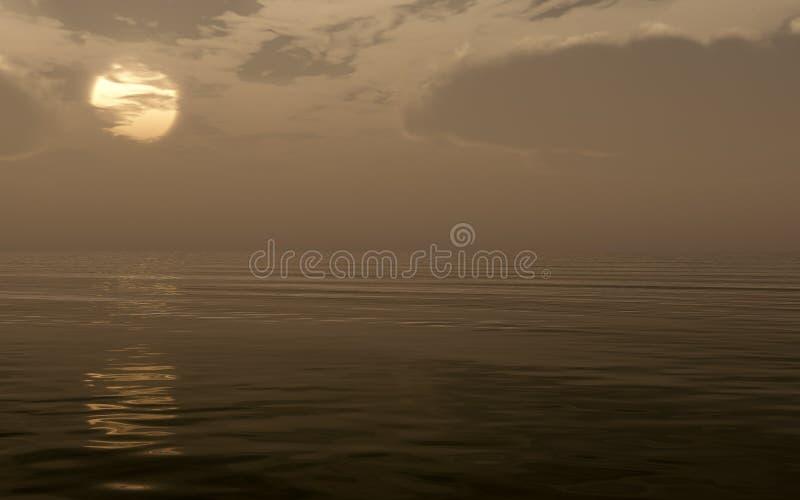 Bad Weather Sunset Over Sea Big Sun royalty free stock image
