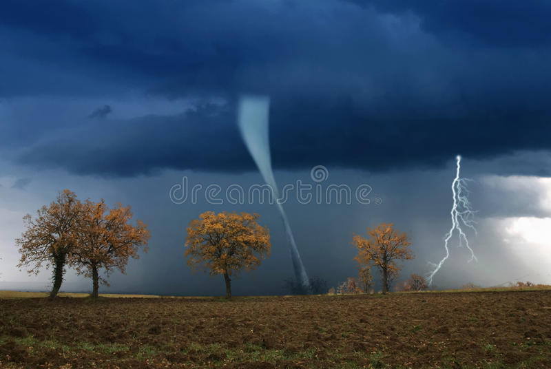 Bad weather with twister stock images