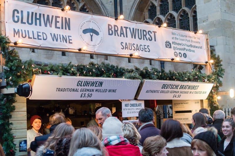 Bad-Weihnachtsmarkt - Bratwurst-Stall stockbilder