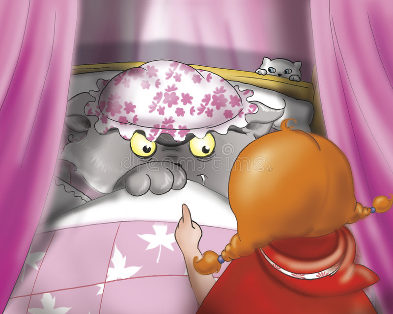Bad wolf in bed. Close up of the bad wolf. He wears the grannys hat and lays in grannys bed. Little Red Riding Hood is speaking with him. Digital illustration vector illustration