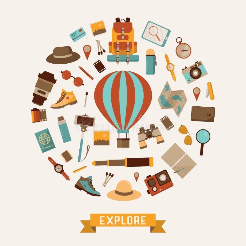 Bada Światową przygody kartę ilustracja wektor