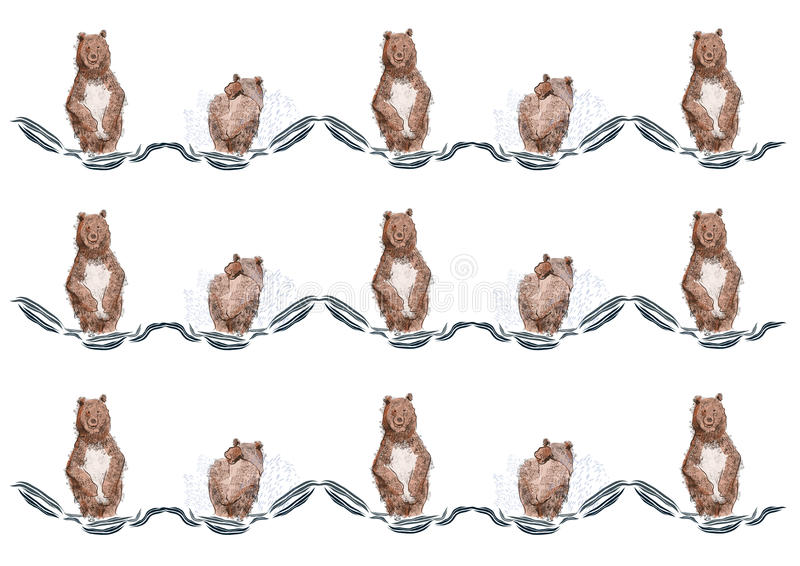 Bada för björn royaltyfri illustrationer