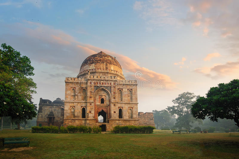 Bada Gumbad Complex at early morning in Lodi Garden Monuments. Delhi, India royalty free stock image