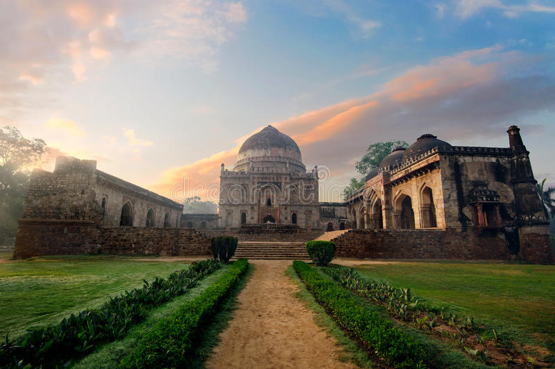 Bada Gumbad Complex at early morning in Lodi Garden Monuments. Delhi, India royalty free stock images